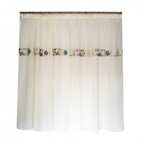 Perdea Velaria in gros texturat cu flori, 250x170 cm0