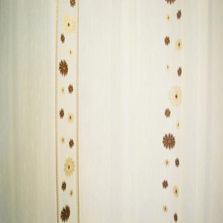 Perdea Velaria crem cu flori maro, 300x245 cm2
