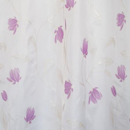 Perdea Velaria de bucatarie, voal alb cu flori mov, 170x150 cm [2]