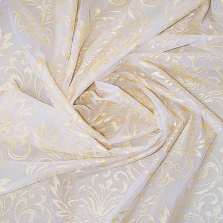 Perdea Velaria in alb cu imprimeu baroc auriu, 180x150 cm [2]