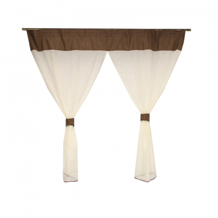 Perdea Velaria de bucatarie voal ivoire cu model geometric, 170x150 cm2