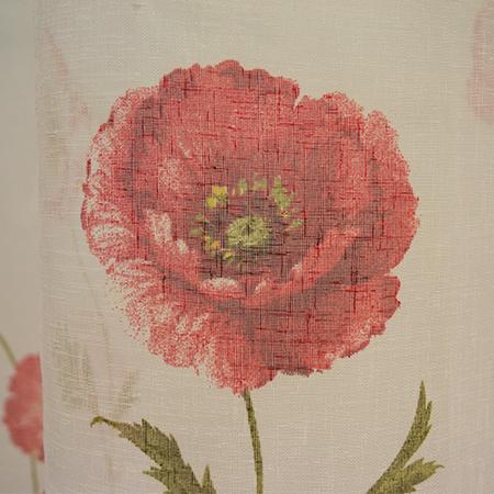 Perdea Velaria in alb cu bordura maci rosii3