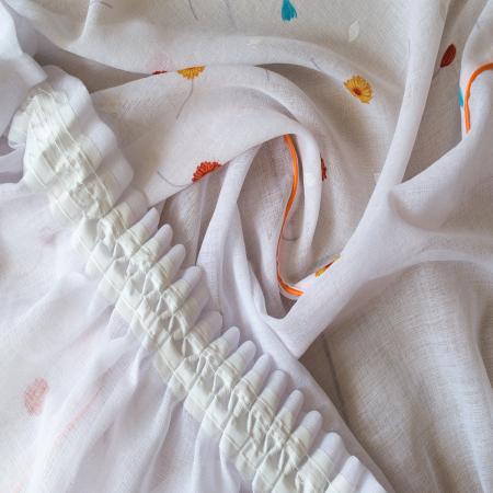 Perdea Velaria in alb cu flori portocalii3