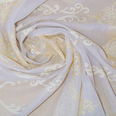 Perdea Velaria in alb cu baroc bej, 185x130 cm [2]