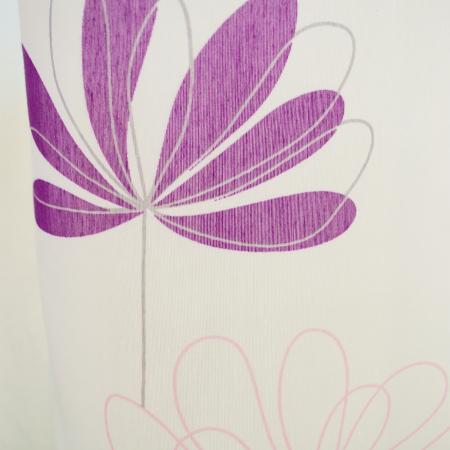 Perdea Velaria alba cu flori mov1