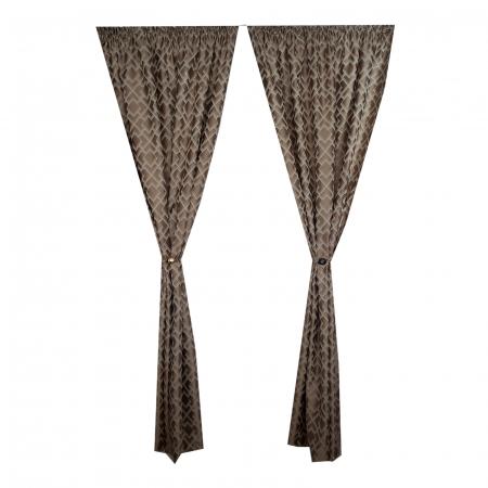Set draperii Velaria tafta romburi beige, 2*140x255 cm2