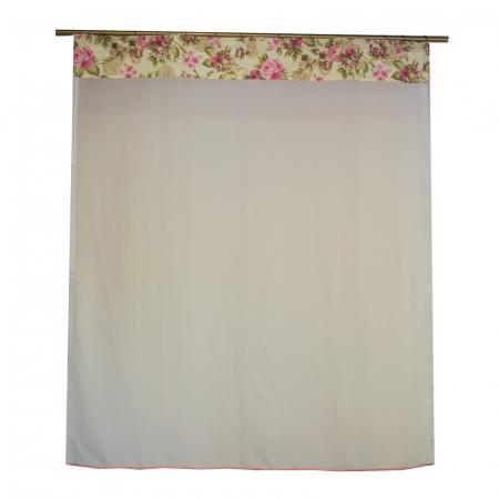 Perdea Velaria in alb cu trandafiri roz, 140x160 cm0