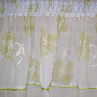 Perdea Velaria voal alb cu flori verzi [1]