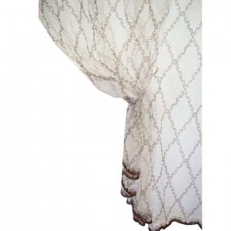 Perdea Velaria organza cu romburi maro, brodate, 390x250 cm [2]