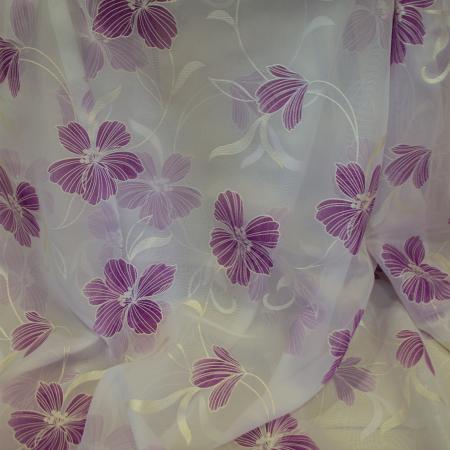 Perdea Velaria Voal Pictat cu flori mov 400x2503