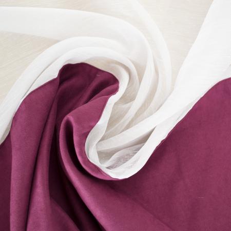 Perdea Velaria de bucatarie in alb cu mov, 390x150 cm3