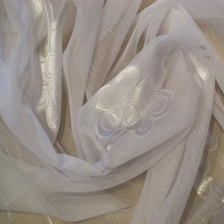Perdea Velaria sable alb cu flori, 200x250 cm1