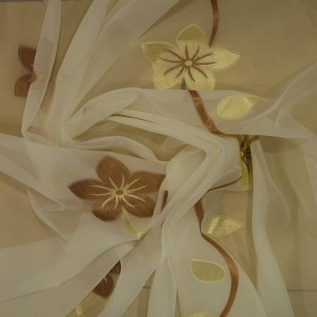 Perdea Velaria voal cu floare maro, 290x245 cm2