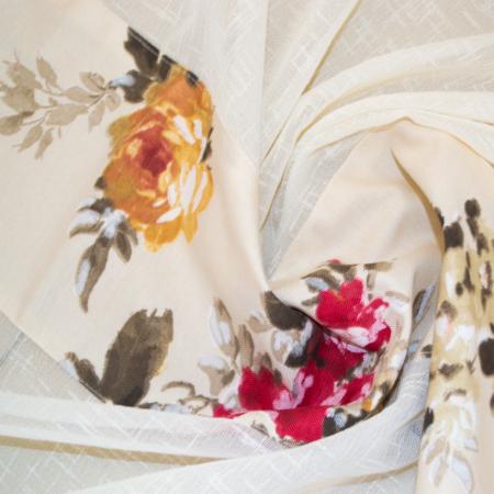 Perdea Velaria in gros texturat cu flori, 350x150 cm1