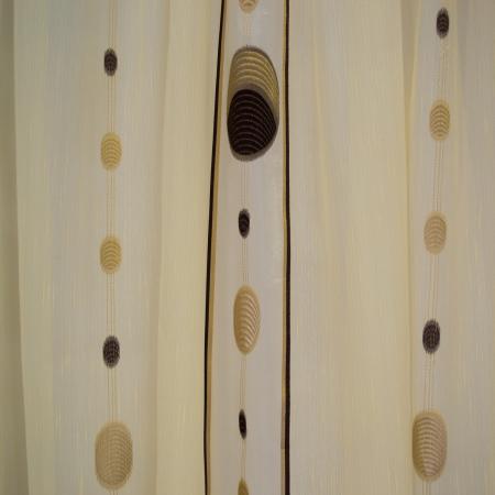 Perdea Velaria sable cu cercuri maro, 365x85 cm2