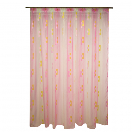 Perdea Velaria voal roz cu forme geometrice, 320x245 cm0