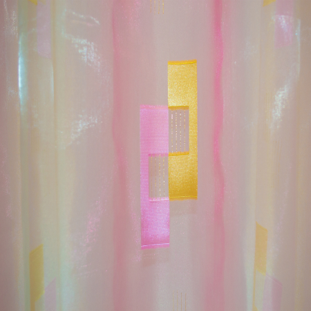 Perdea Velaria voal roz cu forme geometrice, 320x245 cm2