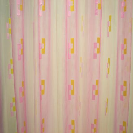Perdea Velaria voal roz cu forme geometrice, 320x245 cm1