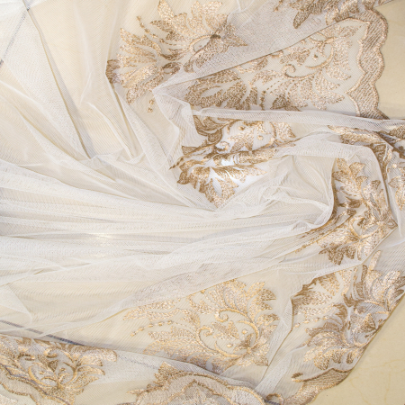 Perdea Velaria tiul unt cu bordura brodata, 630x260 cm2