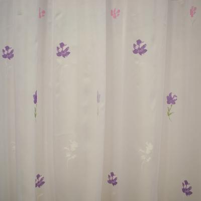 Perdea Velaria voal alb cu flori mov si roz, 355x195 cm1