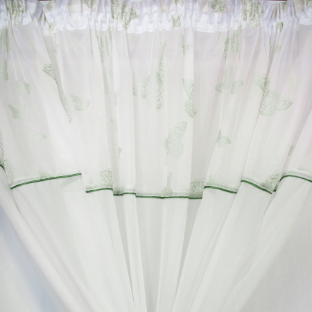 Perdea Velaria voal alb cu fluturi verzi [3]