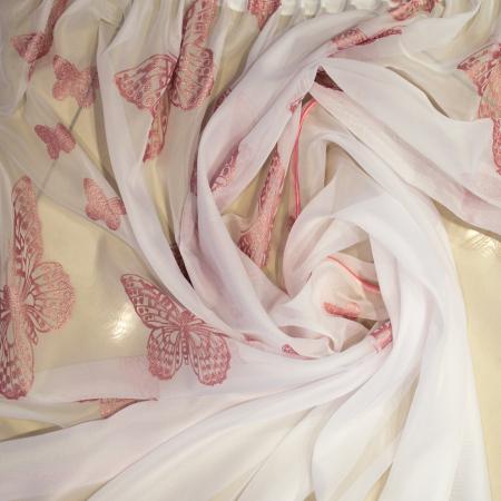 Perdea Velaria voal alb cu fluturi roz, 390x190 cm2