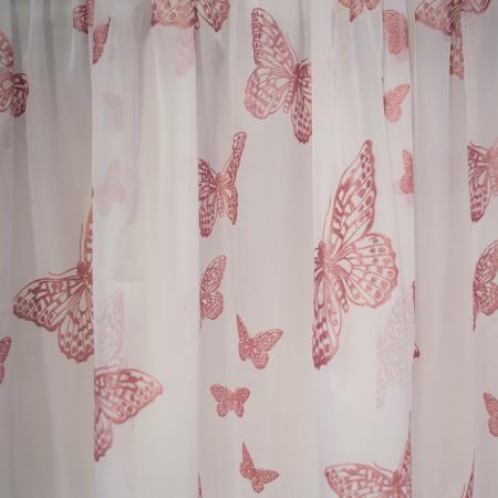Perdea Velaria voal alb cu fluturi roz, 390x190 cm1