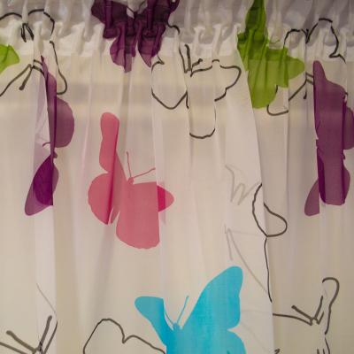 Perdea Velaria voal alb cu fluturi multicolori1