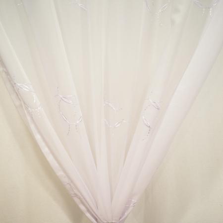 Perdea Velaria voal alb cu imprimeu brodat, 115x245 cm1