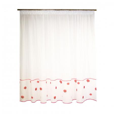 Perdea Velaria voal alb cu maci rosii, 315x190 cm [0]