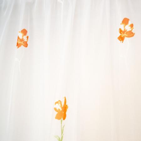 Perdea voal alb cu flori portocalii, 220x185 cm [1]