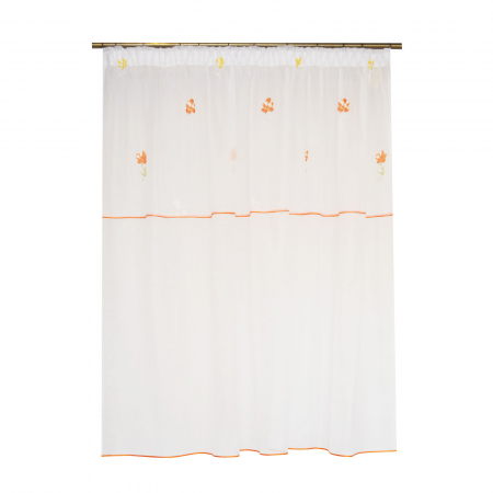 Perdea voal alb cu flori portocalii, 220x185 cm [0]