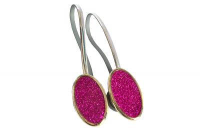 Set 2 magneti decorativi ovali cu sclipici si sufa metalica 13 cm0