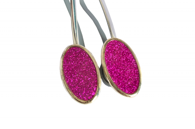 Set 2 magneti decorativi ovali cu sclipici si sufa metalica 13 cm [0]