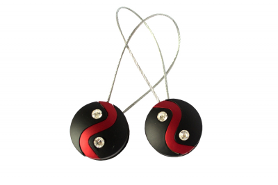 Set 2 magneti decorativi cu sufa metalica 13 cm, rosu/negru0