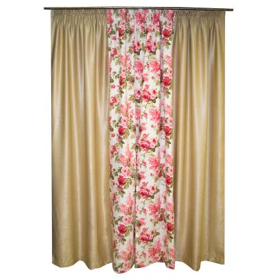 Set draperii bej cu trandafiri, 2x155x260 cm1