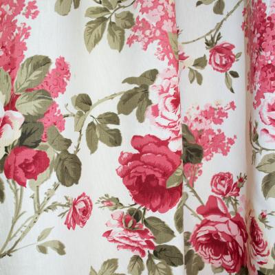 Set draperii bej cu trandafiri, 2x155x260 cm2