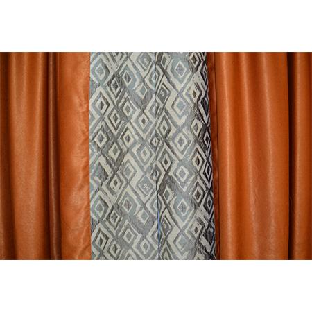Set draperii Velaria caramizii cu imprimeu geometric, 2x155x250 cm2