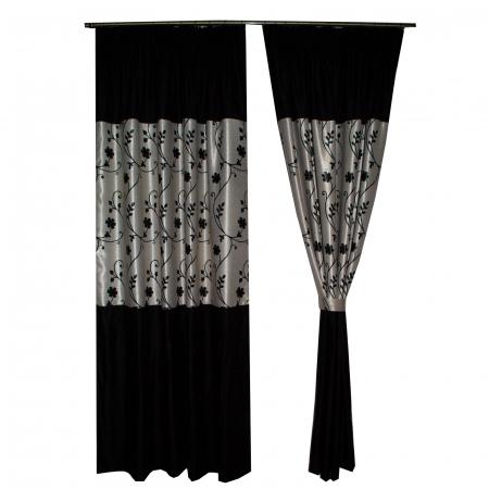 Set draperii Velaria negre cu flori, 2x150x240 cm [2]