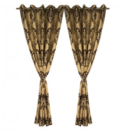 Set draperii Velaria blackout baroc wenge cu capse, 2*160x208 cm2