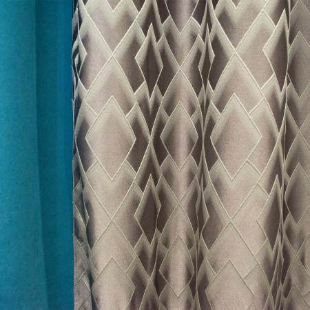 Set draperii Velaria romb gri cu turcoaz, 2x140x280 cm2