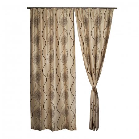 Set draperii Velaria bej cu model wenge, 2*115x245 cm [0]