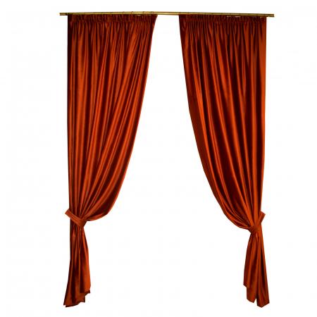 Set draperii Velaria catifea caramizie, 2x140x265 cm0
