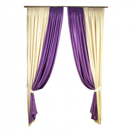 Set draperii Velaria crem cu mov, 2x235x260 cm0