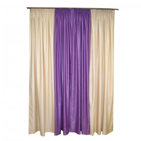 Set draperii Velaria crem cu mov, 2x235x260 cm1