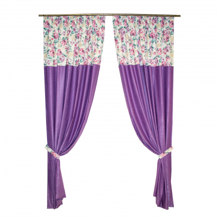 Set draperii Velaria floral mov, 2x155x255 cm0