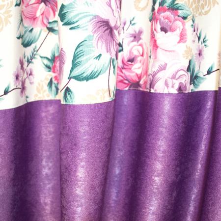 Set draperii Velaria floral mov, 2x155x255 cm2