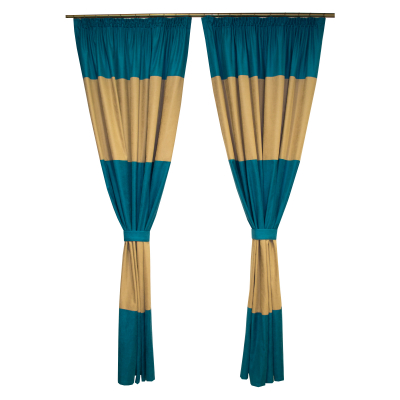 Set draperii Velaria turcoaz-bej, 2x150x230 cm0