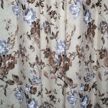 Set draperii Velaria in flori brown cu capse, 2*225x230 cm1
