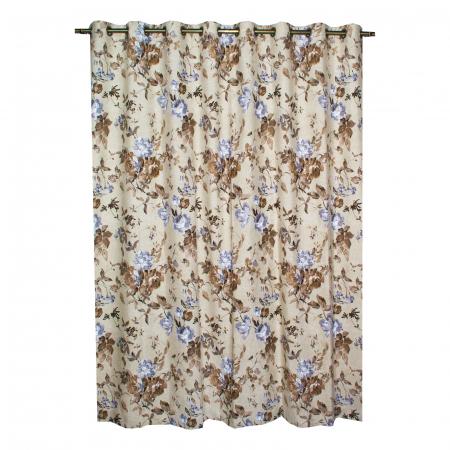 Set draperii Velaria in flori brown cu capse, 2*225x230 cm2